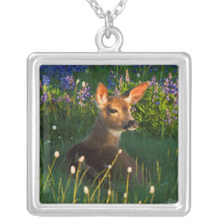 Black-tail Deer Fawn, alpine wildflowers Silver Plated Necklace