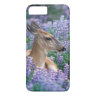 Black-tailed deer, doe resting in siky lupine, iPhone 8 plus/7 plus case