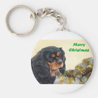 Black & Tan Christmas Cavalier Key Ring