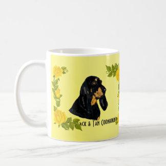 Black & Tan Coonhound and Yellow Roses Basic White Mug