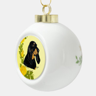 Black & Tan Coonhound and Yellow Roses Ceramic Ball Decoration