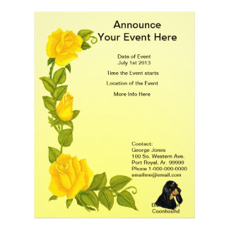 Black & Tan Coonhound and Yellow Roses Full Color Flyer