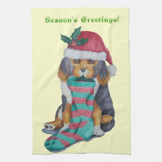 black tan cute puppy dog holly christmas stocking tea towel