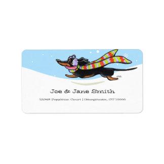 Black Tan Dachshund Cold Run Winter Address Label