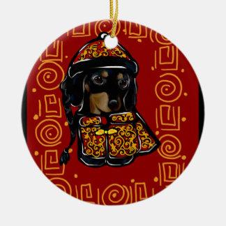 Black & Tan Dachshund Dog of the Year Christmas Ornament