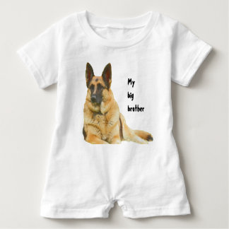 Black & Tan German Shepherd Brother/Sister Baby Bodysuit