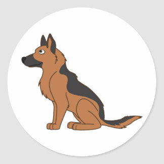 Black & Tan German Shepherd Round Sticker
