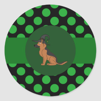 Black & Tan German Shepherd Witch with Green Dots Round Sticker
