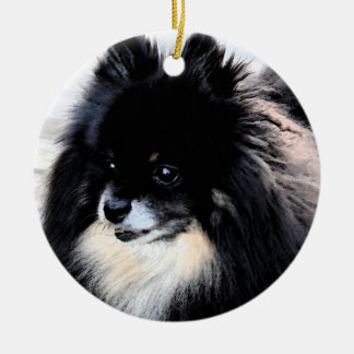 Black & Tan Pomeranian Ornament
