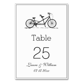 Black Tandem Bike Wedding Table Number Cards