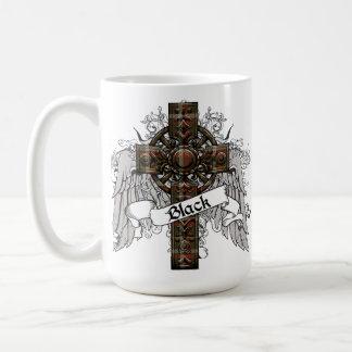 Black Tartan Cross Basic White Mug