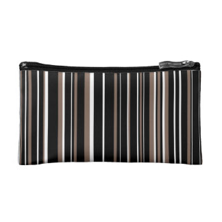 Black, Taupe Brown, White Barcode Stripe Cosmetic Bags