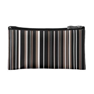 Black, Taupe Brown, White Barcode Stripe Makeup Bags