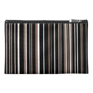 Black, Taupe Brown, White Barcode Stripe Travel Accessories Bags