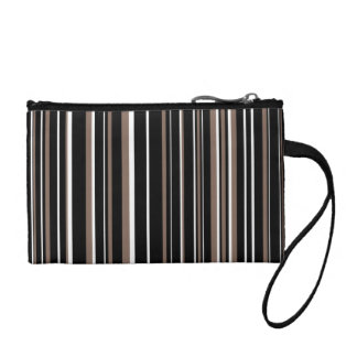 Black, Taupe Brown, White Barcode Stripe Change Purses