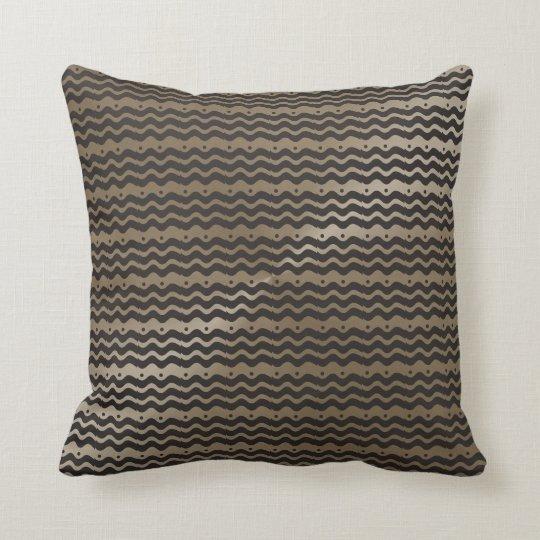 Black Taupe Chevron Modern Pattern Throw Pillow