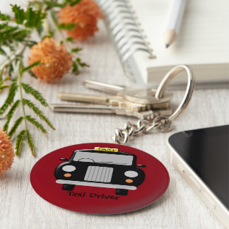 Black Taxi Personalized Basic Round Button Key Ring