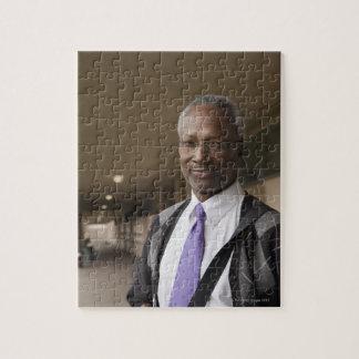 Black teacher standing in school corridor jigsaw puzzle