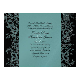 Black Teal and Silver Garden Wedding Invitation