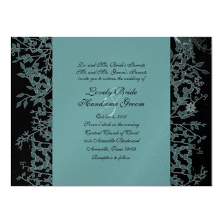 "Black, Teal, and Silver Garden Wedding Invitation 6.5"" X 8.75"" Invitation Card"