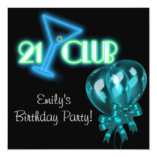 Black Teal Blue Balloons Girls Black 21st Birthday 13 Cm X 13 Cm Square Invitation Card