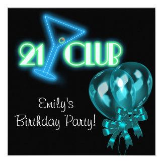 Black Teal Blue Balloons Girls Black 21st Birthday Custom Invitations