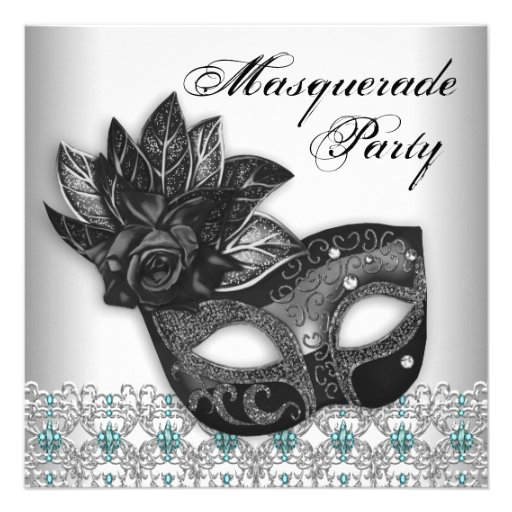 Black Teal Blue Masquerade Party Invitations