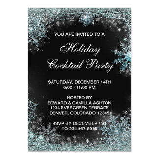 Black Teal Blue Snowflake Christmas Party Card
