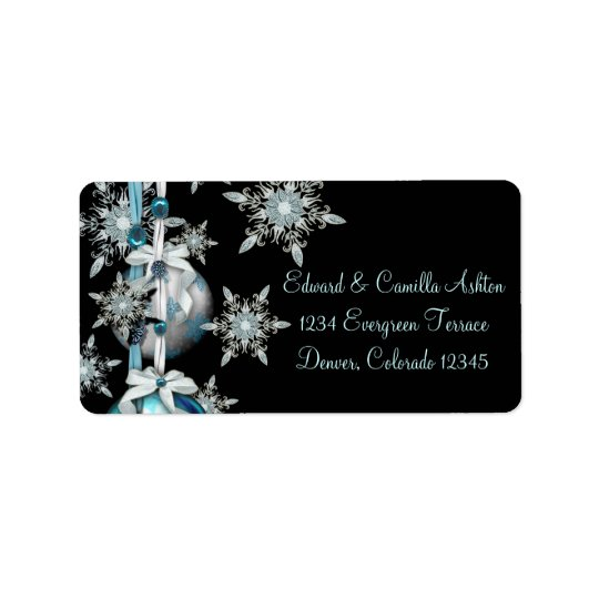Black & Teal Blue Snowflakes Christmas Address Lab Label