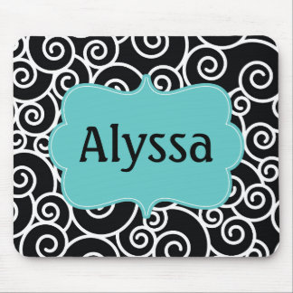 Black Teal Blue Swirl Personalized Mousepad