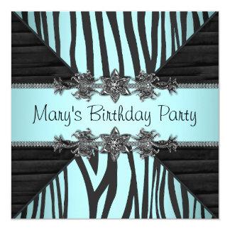 Black Teal Blue Zebra Womans Birthday Party 13 Cm X 13 Cm Square Invitation Card