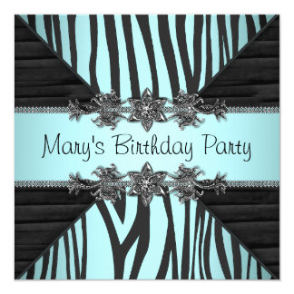 Black Teal Blue Zebra Womans Birthday Party Card
