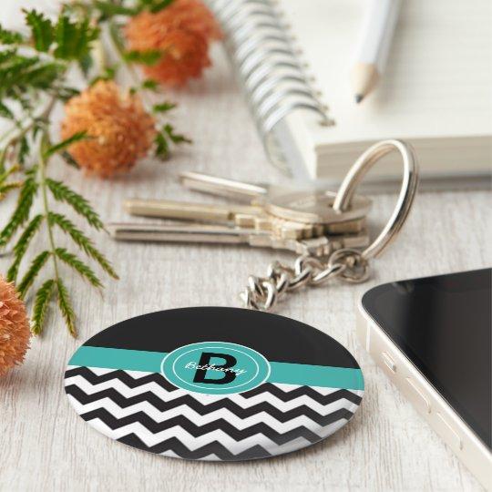 Black Teal Chevron Basic Round Button Key Ring