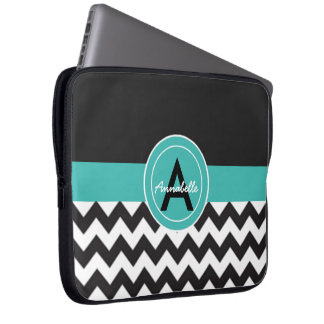Black Teal Chevron Laptop Sleeve