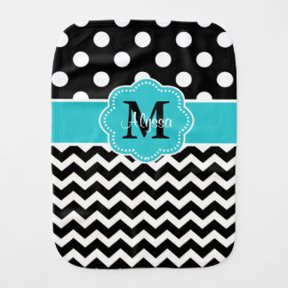 Black Teal Dots Chevron Personalized Burp Cloth