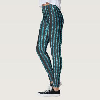 Black & Teal Glitter Stripes Leggings