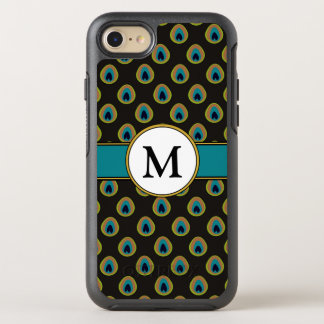 Black, Teal & Gold Peacock Pattern Custom Monogram OtterBox Symmetry iPhone 8/7 Case