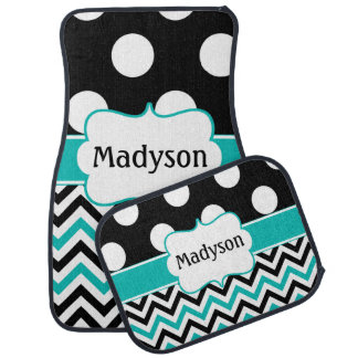 Black Teal Polka Dots Chevron Monogram Car Mat