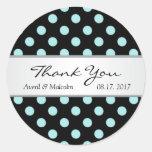 Black & teal polka dots Wedding Thank you Round Stickers