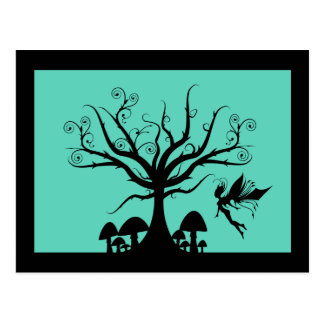 Black & Teal Spooky Fairy Postcard