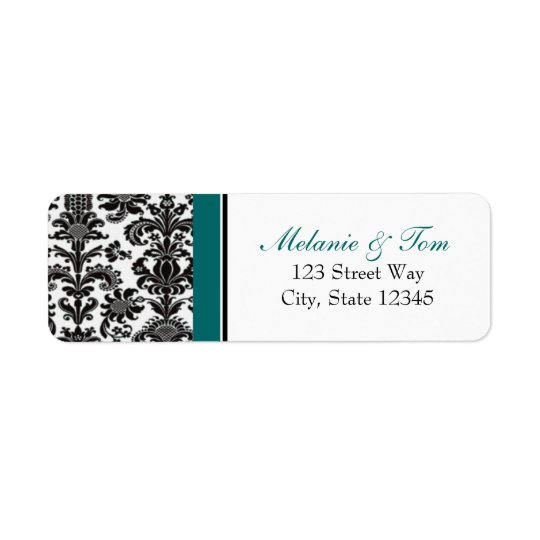 Black & Teal Vintage Damask Return Addess Label Return Address Label