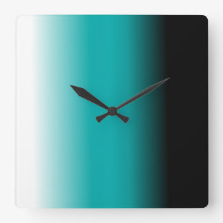Black Teal White Ombre Clock