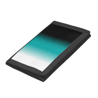 Black Teal White Ombre Tri-fold Wallet