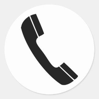 black telephone icon round sticker