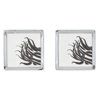 Black Tentacles Cuff Links Silver Finish Cuff Links