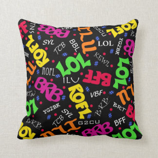 Black Text Art Symbols Abbreviations Cushion