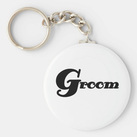 Black Text Groom Basic Round Button Key Ring