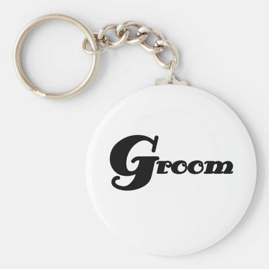 Black Text Groom Key Ring