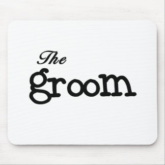 Black Text Groom Mouse Pad