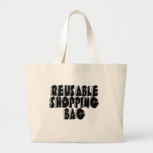Black Text Reusable Shopping Bag Tote Bag